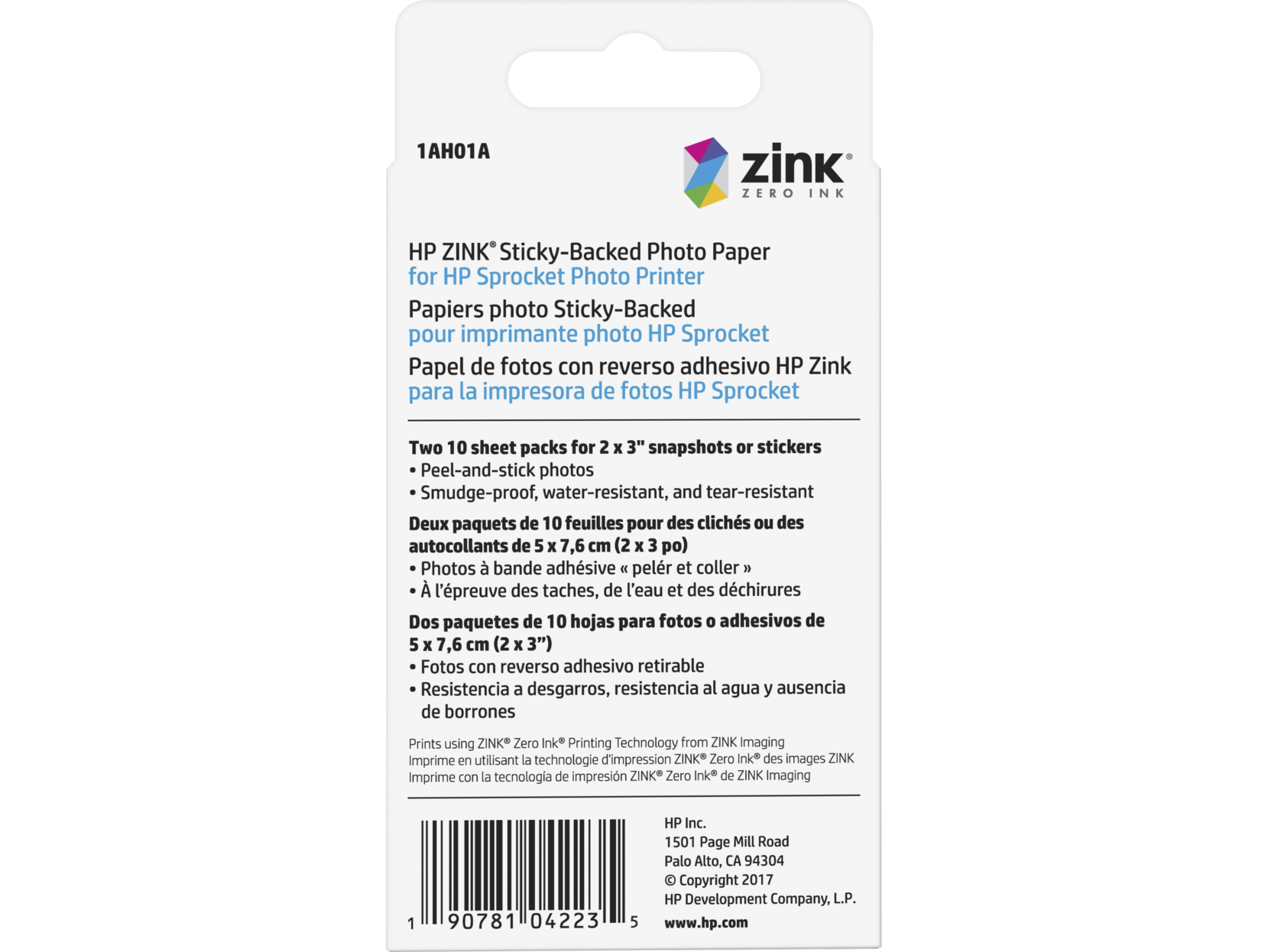 HP ZINK™ Sticky-backed Photo Paper-20 sht/2 x 3 in - Printer