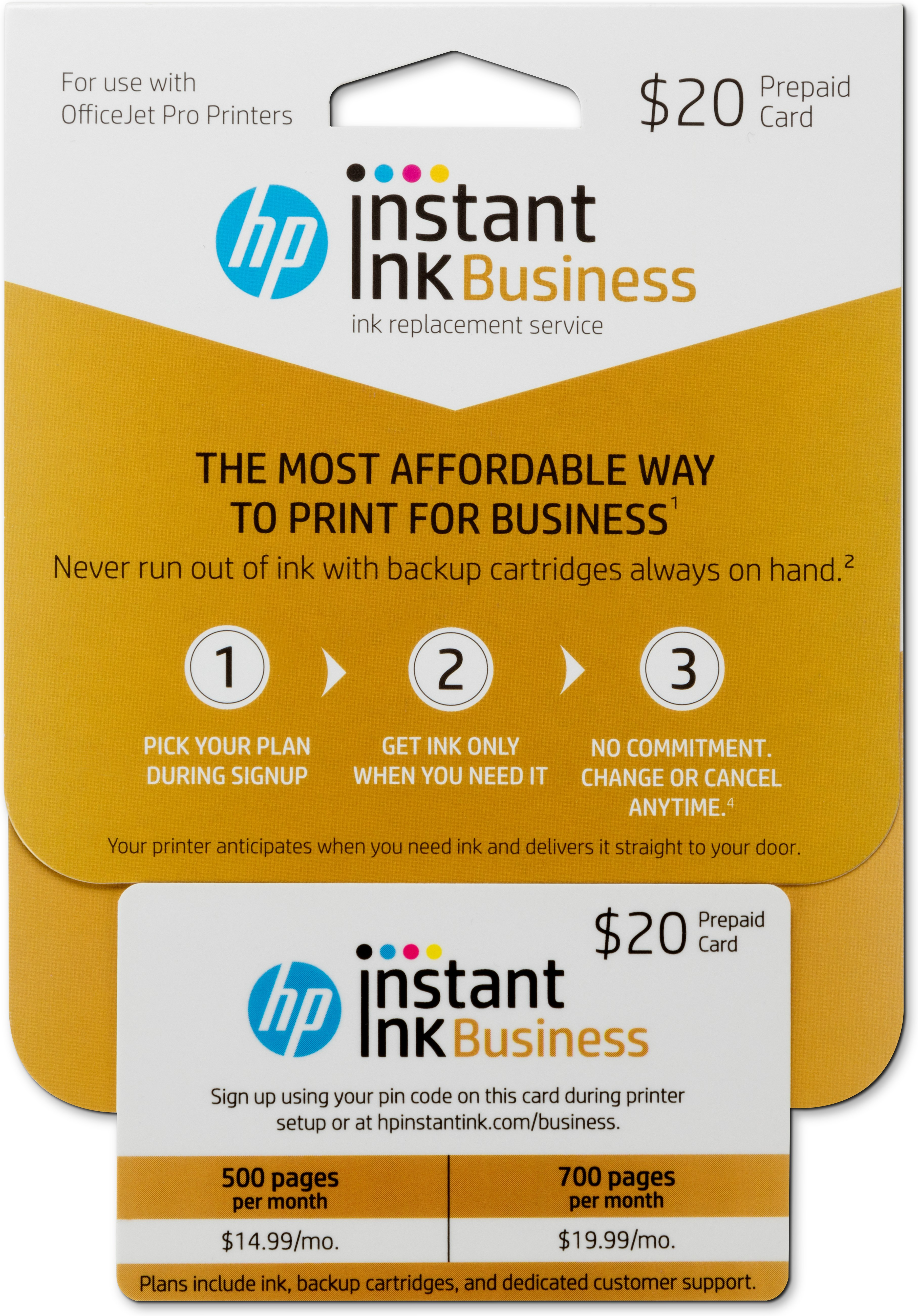 Hp Instant Ink For Business Prepaid Card 20 Printer Pro
